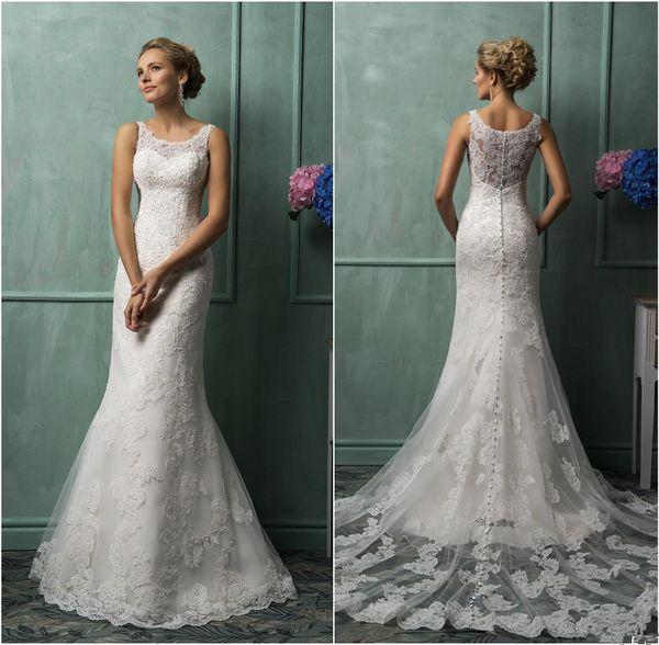 Amelia Sposa 2019 Full Lace Wedding Dresses Real Image Vintage Lace Mermaid Bridal Gowns Long Court Train Church Paolo Sebastian