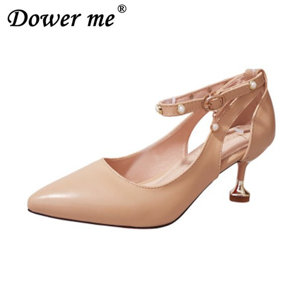 Designer Dress Shoes 2019 New Women's High Heels Pumps Sexy Bride Party Thick Heel Round Toe leather High Heel for office lady Fashion