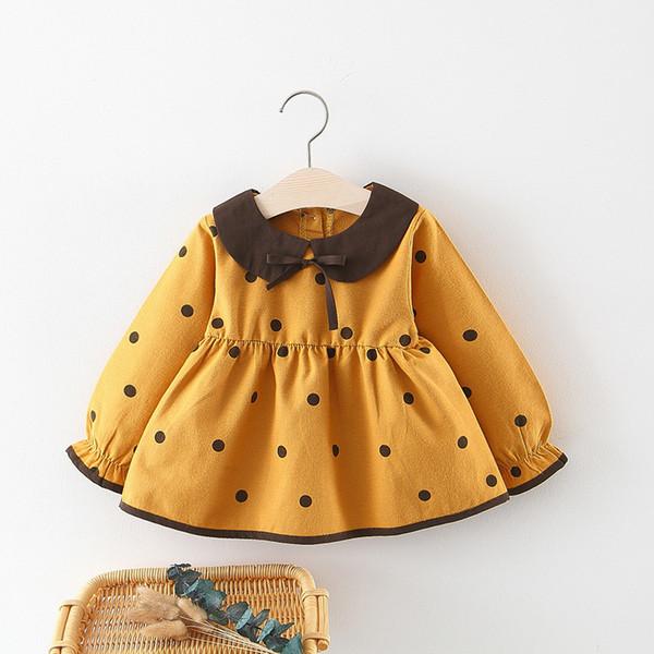 2019 Nuovi vestiti dei bambini della molla Vestito dalla neonata Collo della bambola di colore solido del cotone pieno del vestito dalla stampa del punto