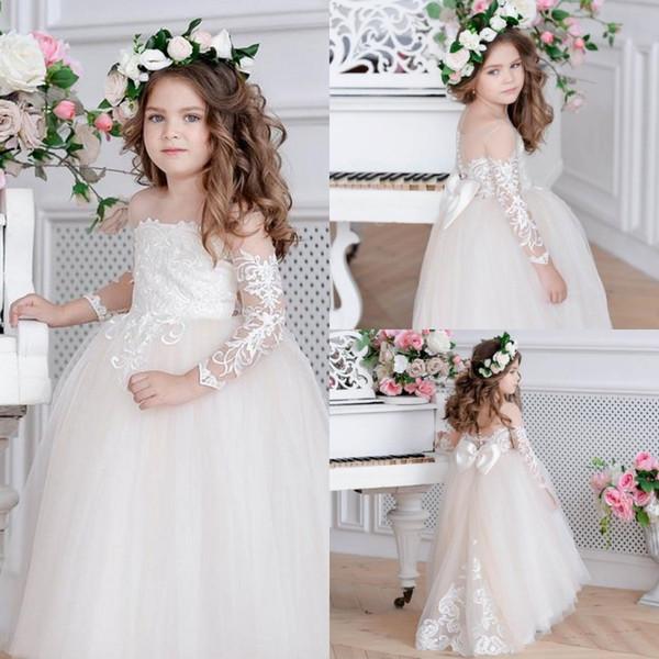 Nouvelle Arrivée Lumière Rose Filles Pageant Robes Robes De Bal Princesse Fleur Filles Robes Pour Les Mariages Belle Enfants Communion Robe
