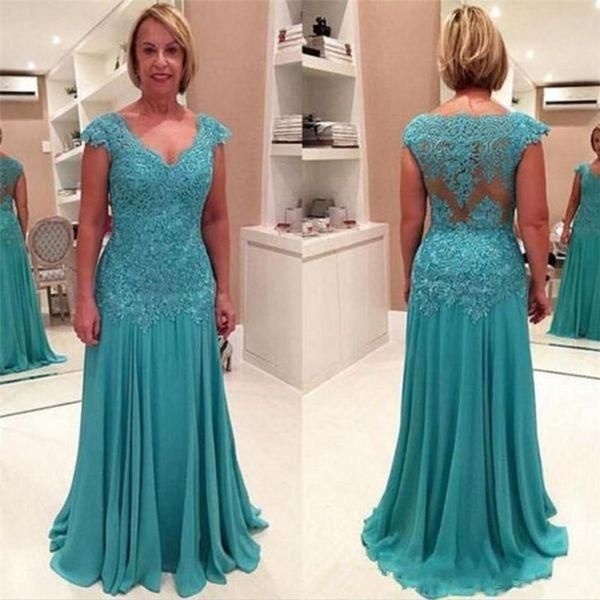 2019 Plus Size Mãe dos Vestidos de Noiva Vestidos Madre De La Novia V- Pescoço Azul Com Apliques de Chiffon Longos Vestidos de Noite