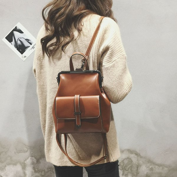 2019 Fashion Retro Hasp Back Pack Bags PU Leather Backpack Women Black School Bags for Teenagers Girls Luxury Small Backpack New