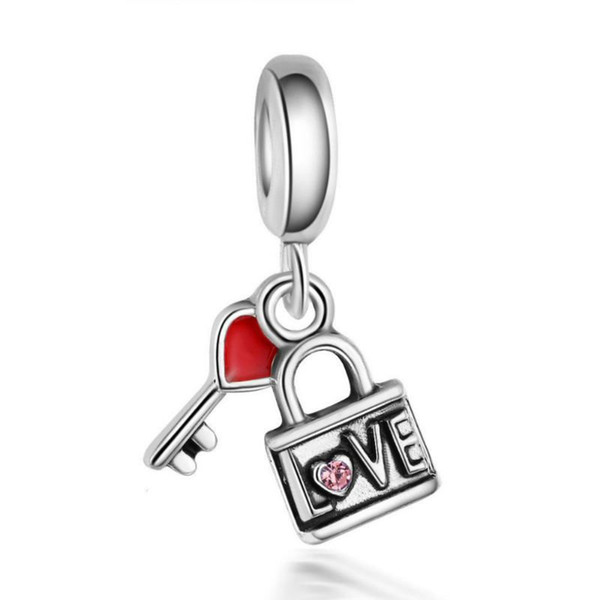 New 1pc red pink white purple blue lock and key hanging bead charms Fits European Pandora Charm Bracelets Creative free shipping