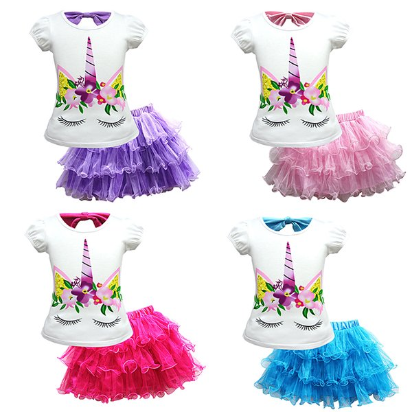 Girls Skirt Set Unicorn Top T-shirt Rainbow Lace Tulle Skirt Outfits Dress Set Clothes Girls summer Clothes Set TC181127W 20set