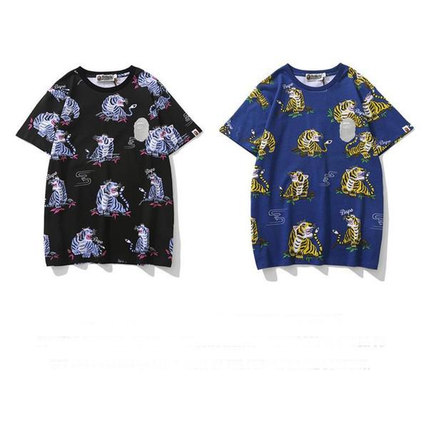 2019 Mens Designers Vestuário Ape camisetas Impresso animal de manga curta T-shirt adolescente Um de banho ao ar livre usar algodão de alta qualidade respirável