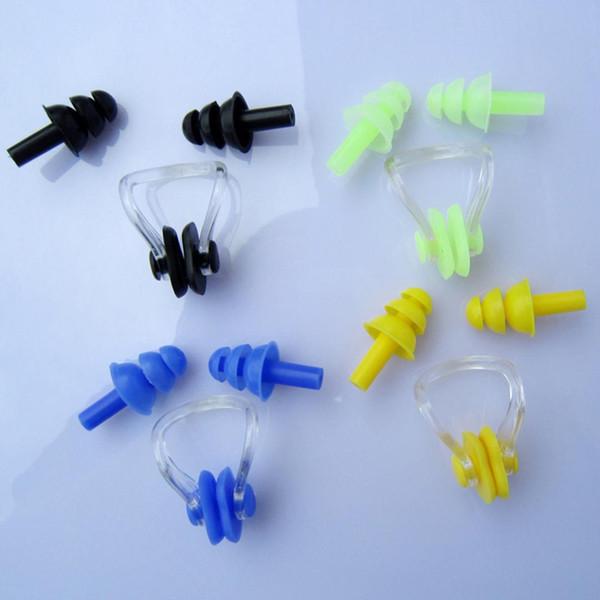 Vendita calda 1 Set impermeabile in silicone morbido Nuoto Set Soft Nose Clip + Ear Plug Earplug Tool