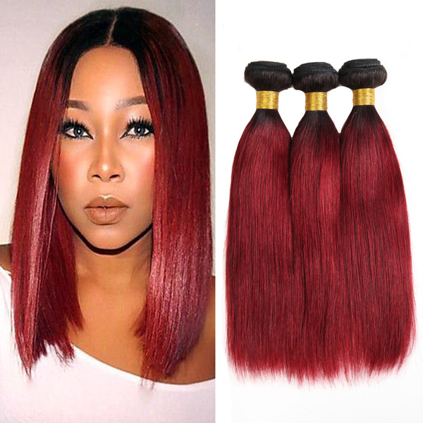 Schneiderin Two Tone Ombre Hair Extensions Weaves Peruanisches Reines Haar Gerade Menschenhaar 3 Bundles 1B / Bug