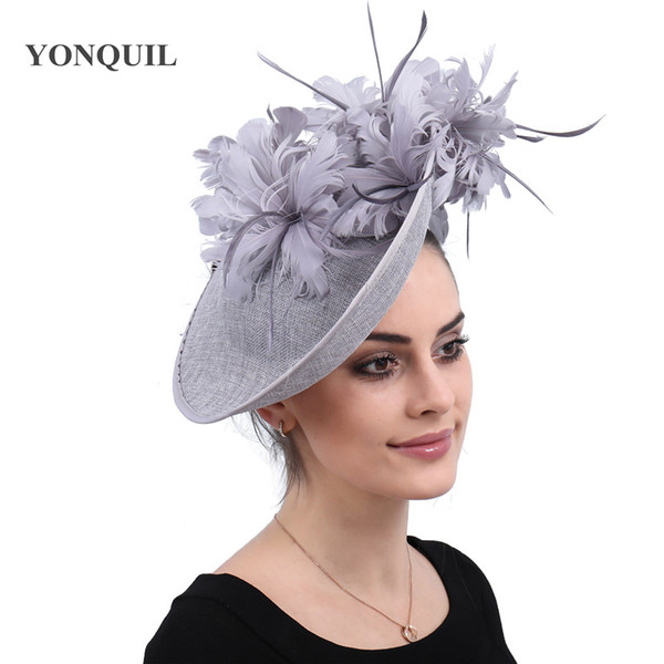 Imitation sinamay derby women fascinator bridal hair fascinators feather fancy grey millinery caps with headbands accessories free shipping