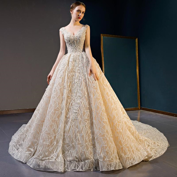 2019 Summer Sexy Princess V Neck sleeveless Crystal Appliques Embellishment Beads Lace Up Gorgeous Wedding Gowns With Long Train