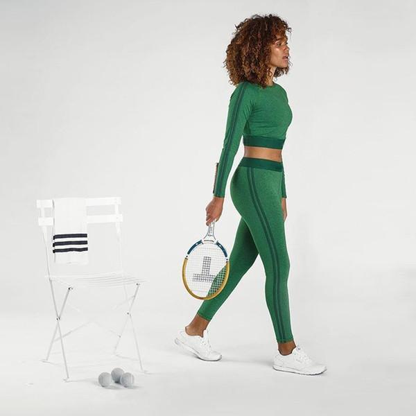 Conjunto de yoga de dos piezas de otoño para mujer Slim Fit camisetas Navel Bare Crop Tank Top de manga larga Top + Slim Medias Leggings trajes de sudor # 945929