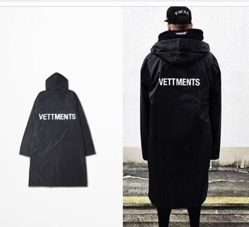 new Men s Vetements Rain Coat Kanye West Bomber Jacket Streetwear Long Hoodies Men Hip Hop Windbreaker Oversized Brand