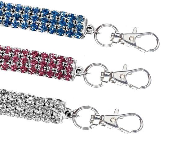 3 Reihen Synthetischer Diamant Stretch Hund Ketten Halsketten Kristall Kragen Drei Farben Pet Schmuck Universal Knochen Anhänger