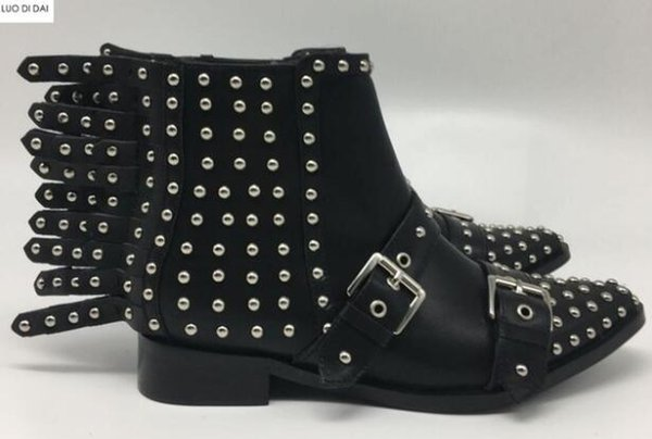 2019 ladies rivets ankle boots fashion women fashion boots black leather spike stud booties flat heel knight booties party shoes