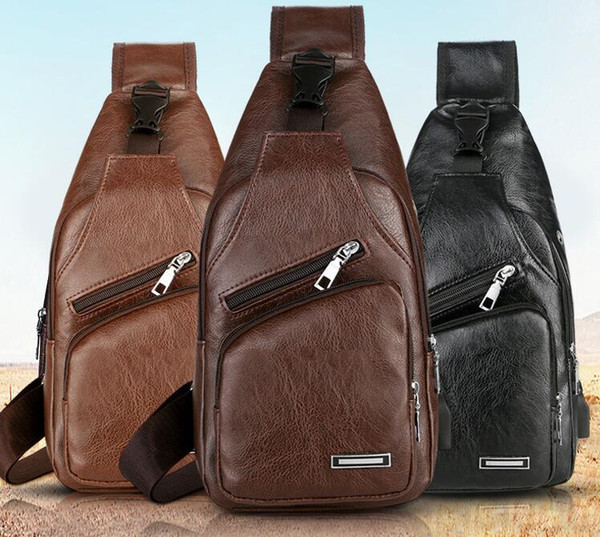 best selling DHL 50pcs Men PU Large Capacity Waterproof Hasp Cycling Bags With USB Black Brown