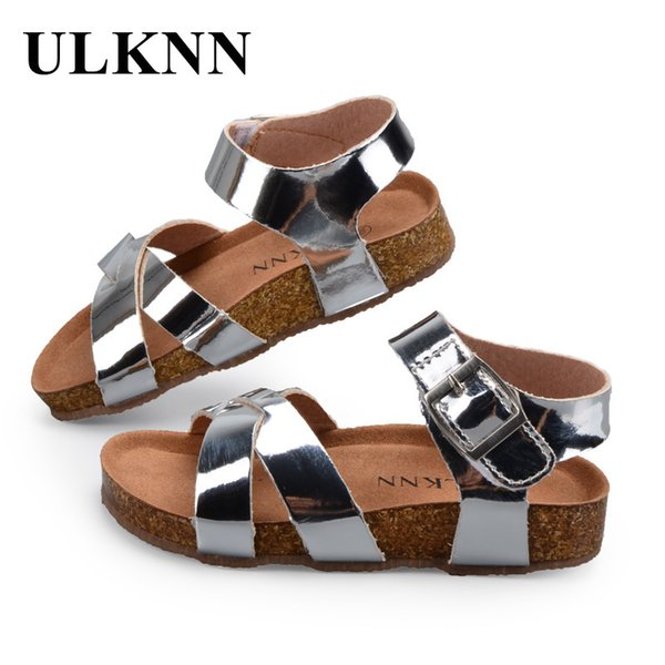 Ulknn Boys Girls Sandals Shoes For Children Gladiator Glitter Pu Leather Beach School Shoes 2018 New Roman Sandals Girl Boy Y19051403
