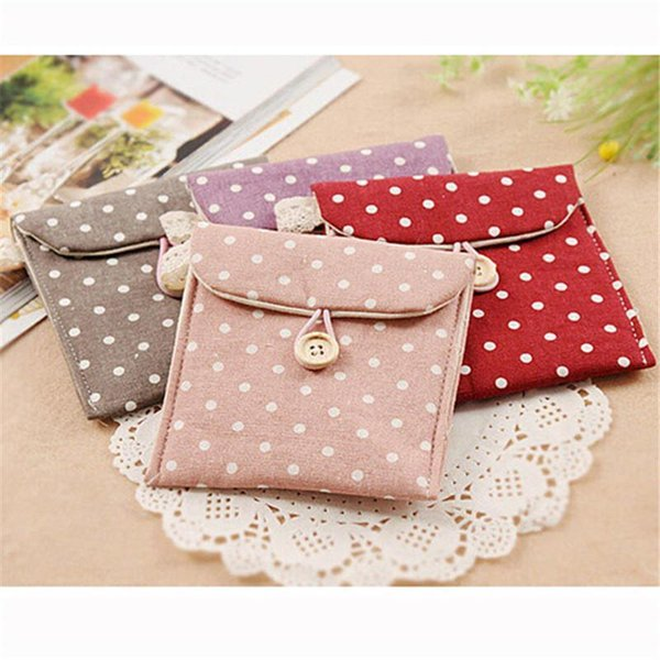 Wholesale- Cotton Linen Case Cosmetic Small Makeup Tool Bag Storage Pouch Purse Cosmetic Travel Bag Nice New Dot Cute CX977251