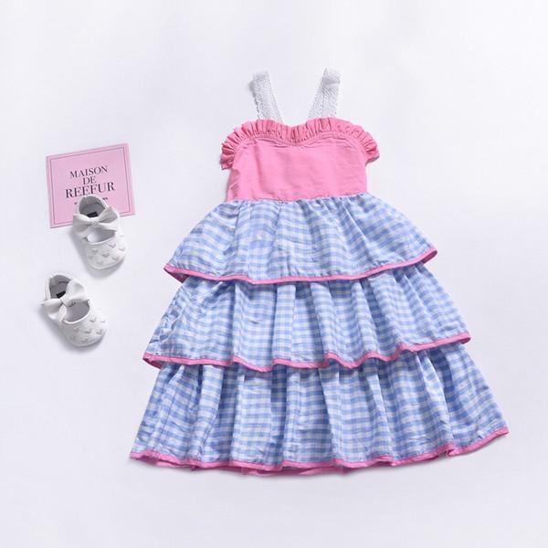 INS Fashional Plaid Cake Girls Dresses Pink Lace Sleeveless Belt Children Kids Girls Dresses Striped Layered Bow Blackless Girls Dresses