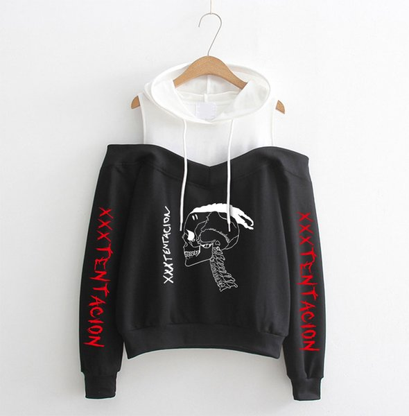 BTS 2018 New XXXtentacion Fabulous Sling Hooded Off-Shoulder Hoodies Ropa para Mujer Harajuku Sexy Girl Sudaderas con capucha sueltas Sudaderas