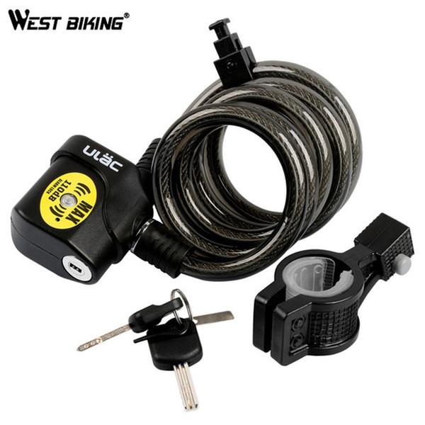 WEST BIKING Bicycle Lock 110DB Key Alarm Anti-theft Bike Cable Lock MTB Road Bike Accessories Candado Security Cycling Wire #221510