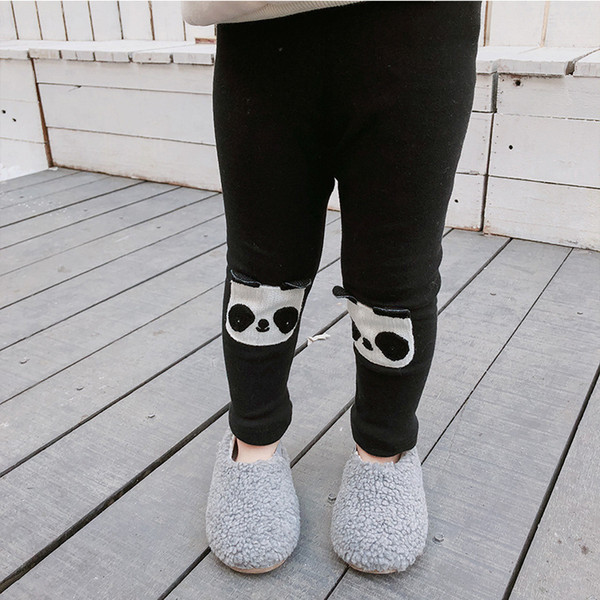 2019 Winter New Arrival cotton korean style thickened Velvet panda pattern all-match Bottoming long pants for cute baby girl boy