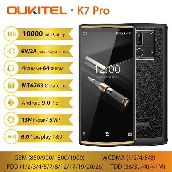 Face ID OUKITEL K7 Pro 4GB 64GB 4G LTE 64-Bit Octa Çekirdek MTK6763 Android 9.0 13 MP + 2 MP 2 Kamera GPS Parmak İzi 10000mAh Güç Bankası Smartphone