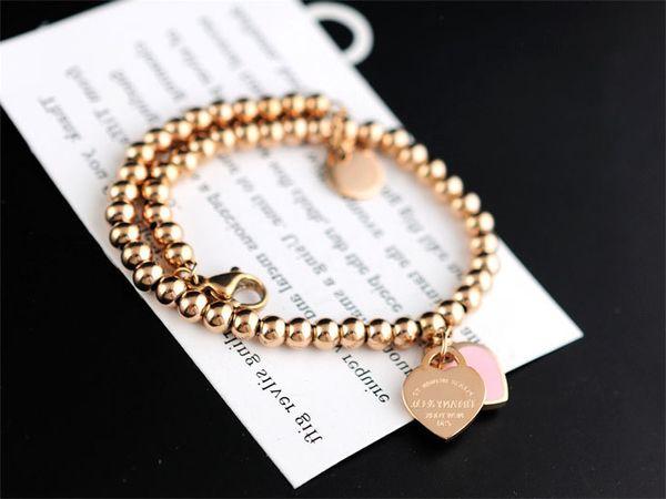 High Quality Celebrity design Silverware beads bracelet Women Letter Heart-shaped Fashion metal Chain Bracelets Jewelry With dust bag Box
