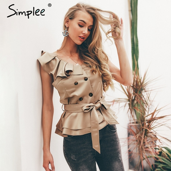 Simplee Sexy Um Ombro Irregular Mulheres Camis Tops Verão Ruffle Caixilhos Tanques De Seda Cáqui Blusas Elegante Partido Feminino Camisolas C19041101