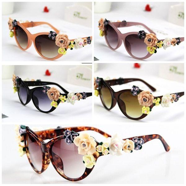 52ae4e3b9a92 flower eyeglass frames Promo Codes - Summer Style Beach Female Sunglasses  Manual Soft Ceramic Rose Eyewear