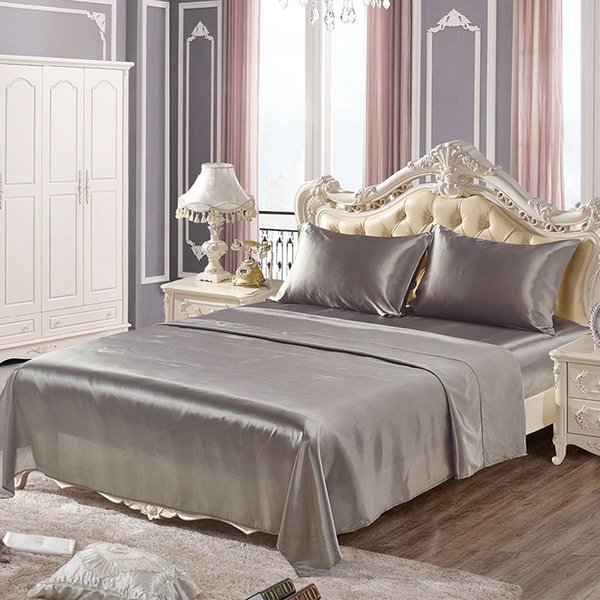 Soft silk fitted sheets sets satin US Twin/Queen /King full sizes Sheet solid color Bedding 4pcs/set bedspread bed set