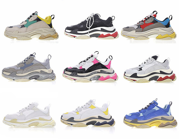 2018 high Quality Luxury Triple-S Designer cheap Retro style Sneakers Combination Soles Boots Mens Womens Runner Shoes Sports Outdoor Shoes