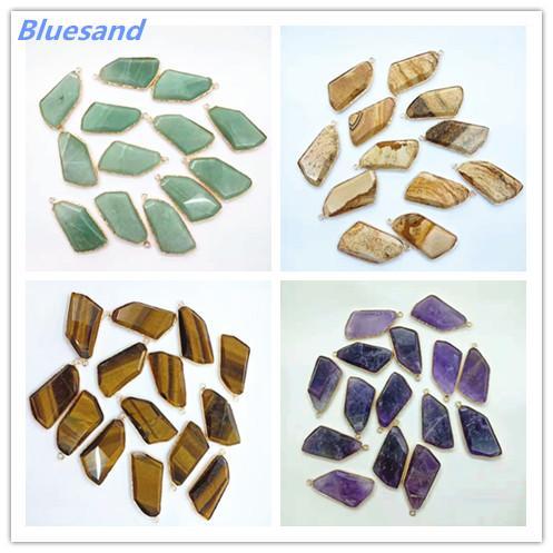 Wholesale Fashion Pendants Natural Gem Stone Natural Druzy Reiki Charms Pendants Opal Mixed Crystal Pendants Necklaces 12pcs