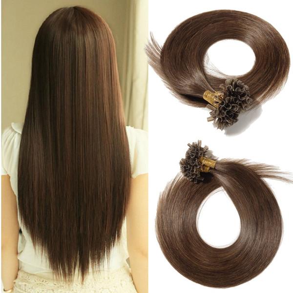 100 brins 18 20 22 pouces U Astuce Extensions de cheveux brun moyen cheveux pré-collés kératine ongles tout droit tout droit