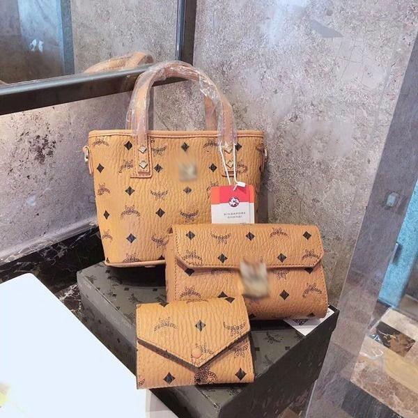 High-quality women's fashion temperament casual shopping bag three-piece combination shopping bag + chain bag + wallet