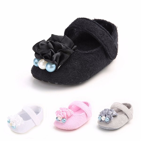 Baby Girls Shoes Fashion Newborn Infant Baby Girls Flower Pearl Soft Sole Anti-slip Princess Shoes Baby First Walker JE25