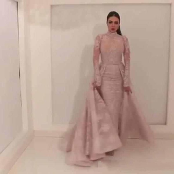 Arabic Style High Neck Prom Dresses 2019 with Fixed Court Train Overskirt Middle East Evening Dresses Custom Made