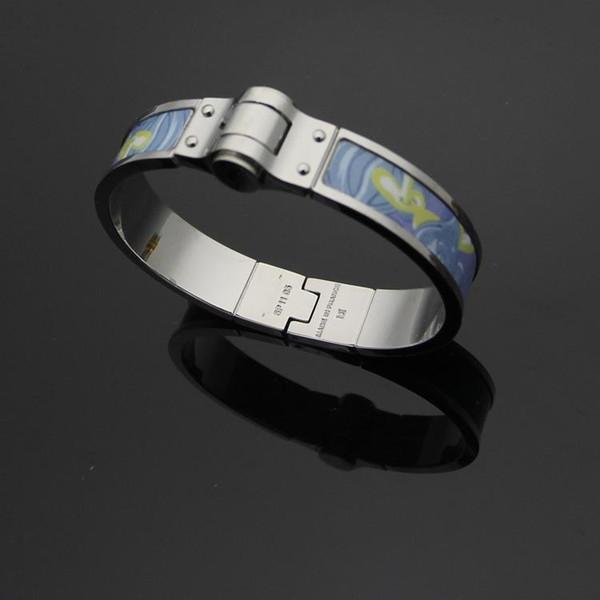 H Franc buckle bracelet H Bracelet&bangle fashion women titanium high Quality jewelry 12mm width 18K gold plated Glue for women 5.5*4.3cm