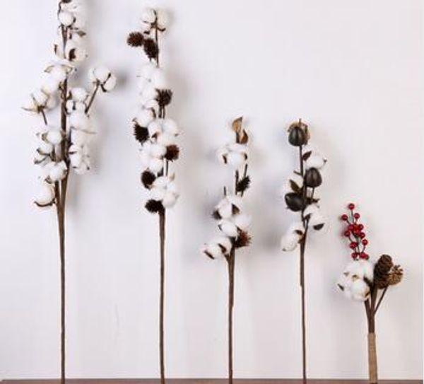 Nuevo estilo de flor de algodón artificial 2 colores una rama de imitación de la flor DIY decoración de la boda para la fiesta de noche oficina 4 pcs
