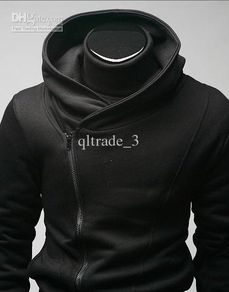 Qltrade_3 quentes Mens vendas zip finos desenhados Assassins revestimento do hoodie Top Coat Creed preto