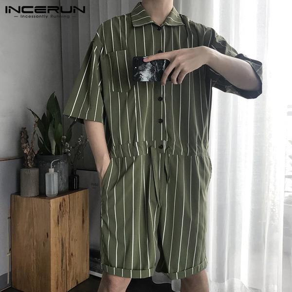 Summer Fashion Striped Men Rompers Shortsleeve Pockets Jumpsuit Harajuku Loose Hiphop Overalls Men Pants Streetwear 2019 INCERUN
