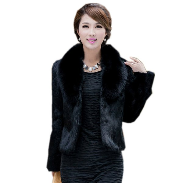 2018 New Autumn Winter Women Warm Faux Fur Coat Female Long Sleeve Faux Rabbit Fur Jacket Outwears Short Coat Plus Size 3XL A998
