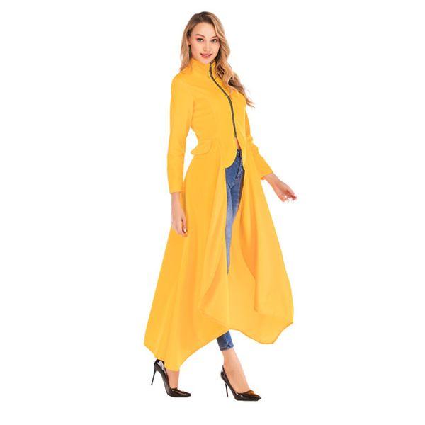 Мода Неравномерность Стенд Воротник плащи весна молния длинного рукав конструктора пальто новой Повседневная Женская одежда
