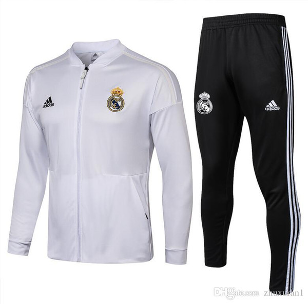 H12 explosion brand design high quality Real madrid sports ball suit 1819 jacket Real Madrid low collar white sports competition clothing fa