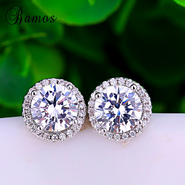 Vecalon 925 Silver Filled Fashion Jewelry Round White 5A Zircon Earrings For Women Bridal Stud Earrings Best Christmas Gift HE021