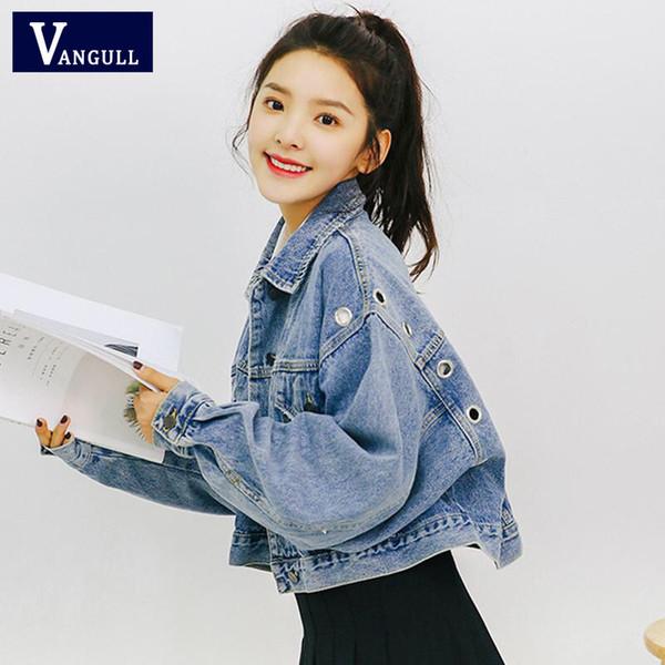 Vangull Women Basic Jean Jacket Coat Manica lunga monopetto Slim Short Women Denim Jacket Vintage Autunno Crop Giacche Outwear