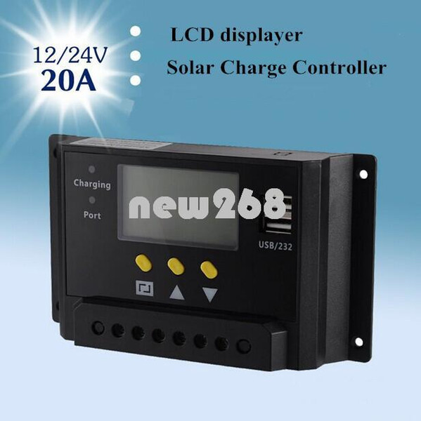 Freeshipping MPPT LCD 20A Solar Charger Panel Renewable Energy Regulator Charge Controller 12V 24V 240W 480W Placa Solar China Dual USB