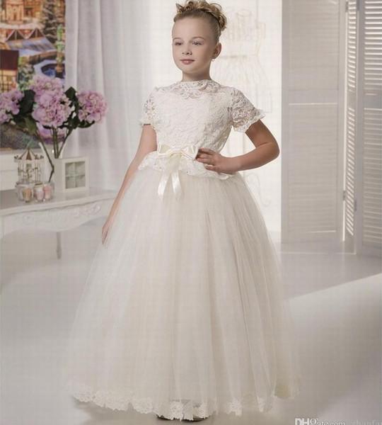 Novo estilo princesa pageant flor menina vestido de festa de casamento crianças da dama de honra aniversário tutu crianças vestido gna45