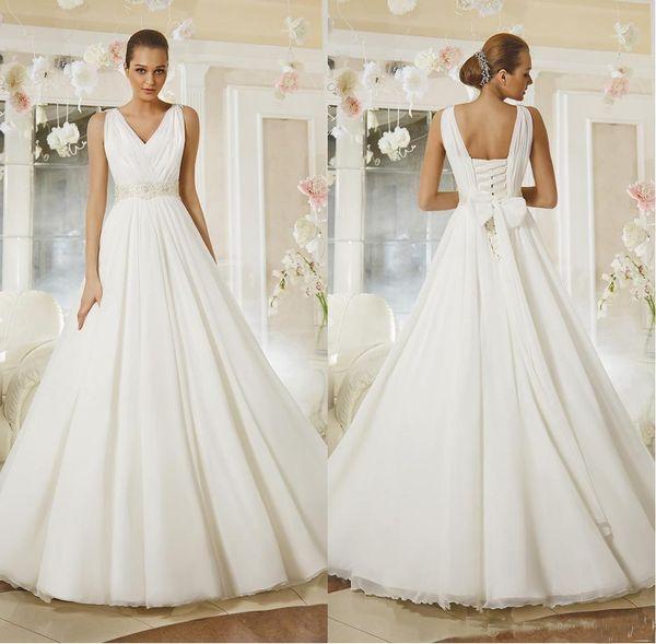 2019 Latest Elegant Deep V Neck Chiffon Wedding Gowns Big Bow Bridal Dresses Double Straps A Line Dresses For Wedding With Beaded Sash
