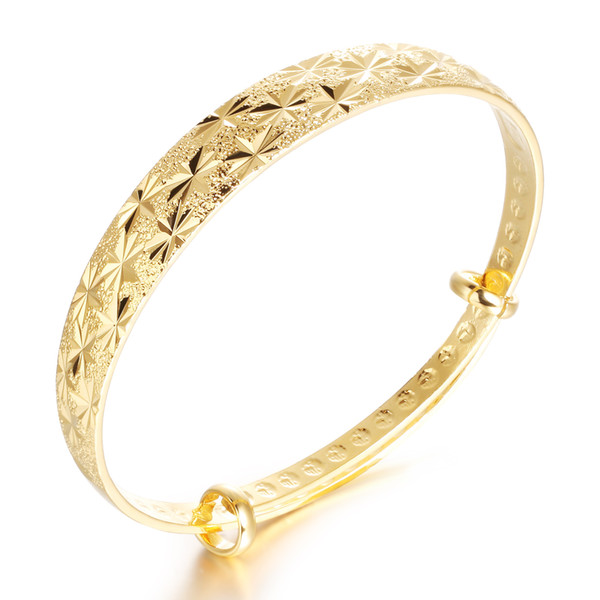 Classical 18k Yellow Gold Diamond-Cut Bangle Bracelet High Polish Metal Finish Adjustable,Wedding accessories