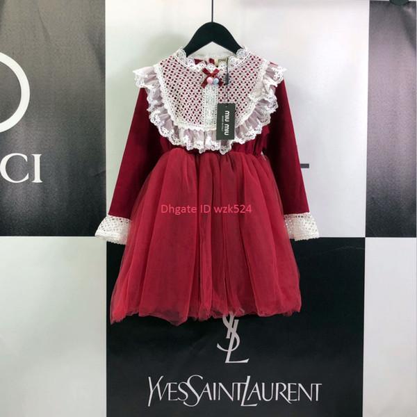 Kızlar elbise çocuklar tasarımcı giyim sonbahar streç pamuklu kumaş dantel eleman elbiseler moda sıcak yeni elbise boyutu 110-150 cm