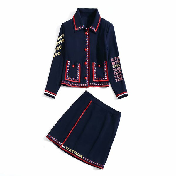 2018 Autumn Long Sleeve Turn-Down Collar Contrast Color Embroidery Jacket & Above Knee / Mini Skirt Set Two Piece 2 Pieces Set N29K111707